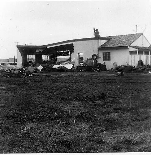 Tornado damage at Jerry's Mileage Station - May 6, 1965