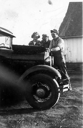 Joan Van Sloun from Chaska with her Model A Ford. circa 1945